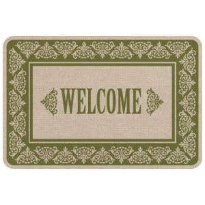 Green and Tan Scrolls Welcome Mat - OVERSTOCK