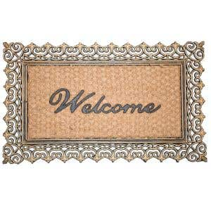 Elegant gold-colored frame Coco Welcome Mat!