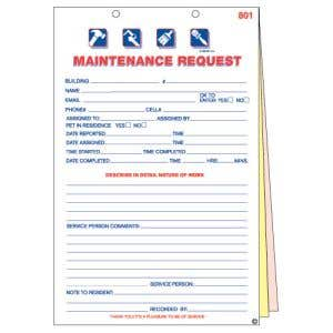 Service Request Forms 3-Part - OVERSTOCK