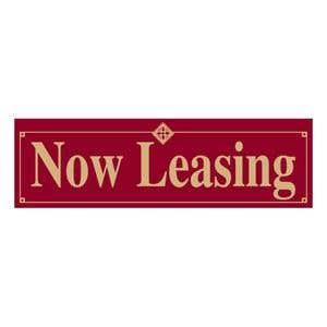 """""""Now Leasing"""" Burgundy and Tan Banner - OVERSTOCK"""