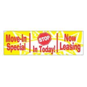 Leasing Red and Yellow Banner - OVERSTOCK
