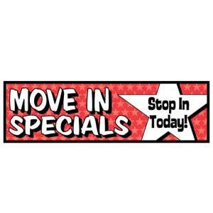 """""""Move In Specials"""" Stars Banner - OVERSTOCK"""