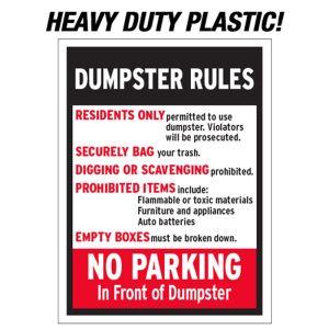 Plastic Dumpster Rules Sign