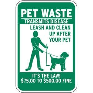$75-$500 Fine Pet Waste Sign