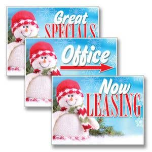 Friendly Snowman Holiday Bandit Sign