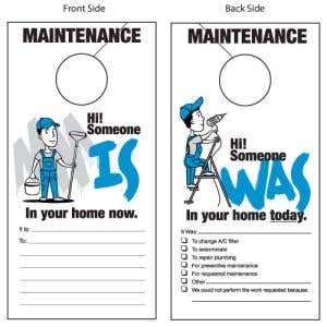 White Maintenance Door Hangers