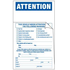 Non-Working Vehicle Parking Violation Sticker