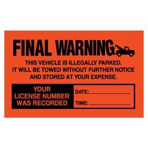 Red Parking Violation Sticker