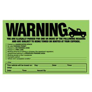 Green Fluorescent Parking Violation Stickers
