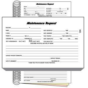 English Maintenance Work Order Book - Three Part