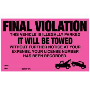 Pink Parking Violation Sticker