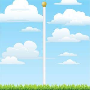 18' White Steel Flagpole