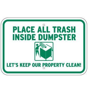 All Trash in Dumpster Sign