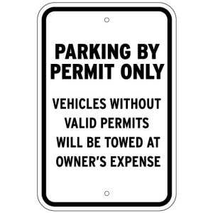 Permit Only No Parking Sign