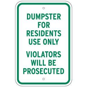 Dumpster For Residents Sign