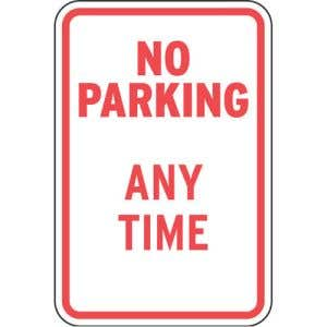 No Parking Any Time Sign - OVERSTOCK