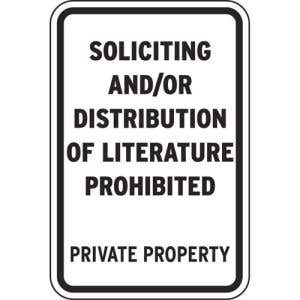 Soliciting Prohibited Sign - OVERSTOCK