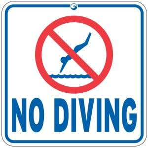 """""""No Diving"""" Pool Sign - OVERSTOCK"""