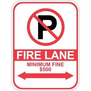 Fire Lane Minimum Fine $500 Sign - OVERSTOCK