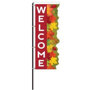 Welcome Leaves Windless 3D Flag Kit - OVERSTOCK