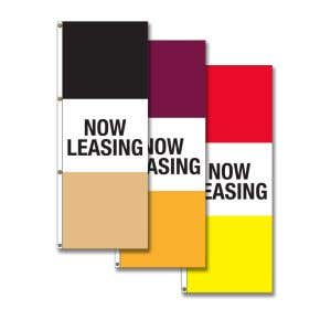 3' x 8' Vertical Now Leasing Flags - OVERSTOCK