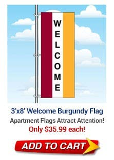 Burgundy Welcome Flag