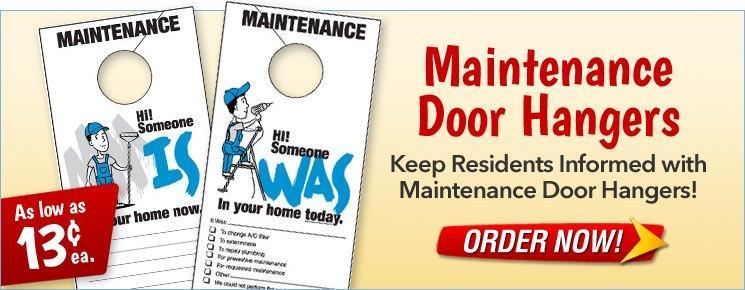 Maintenance Door Hangers As Low As $0.13 each